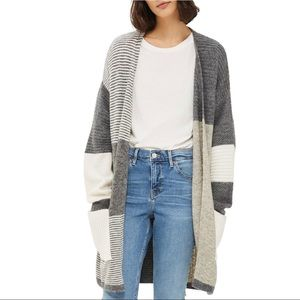 Topshop Patchwork Marled Open Front Cardigan